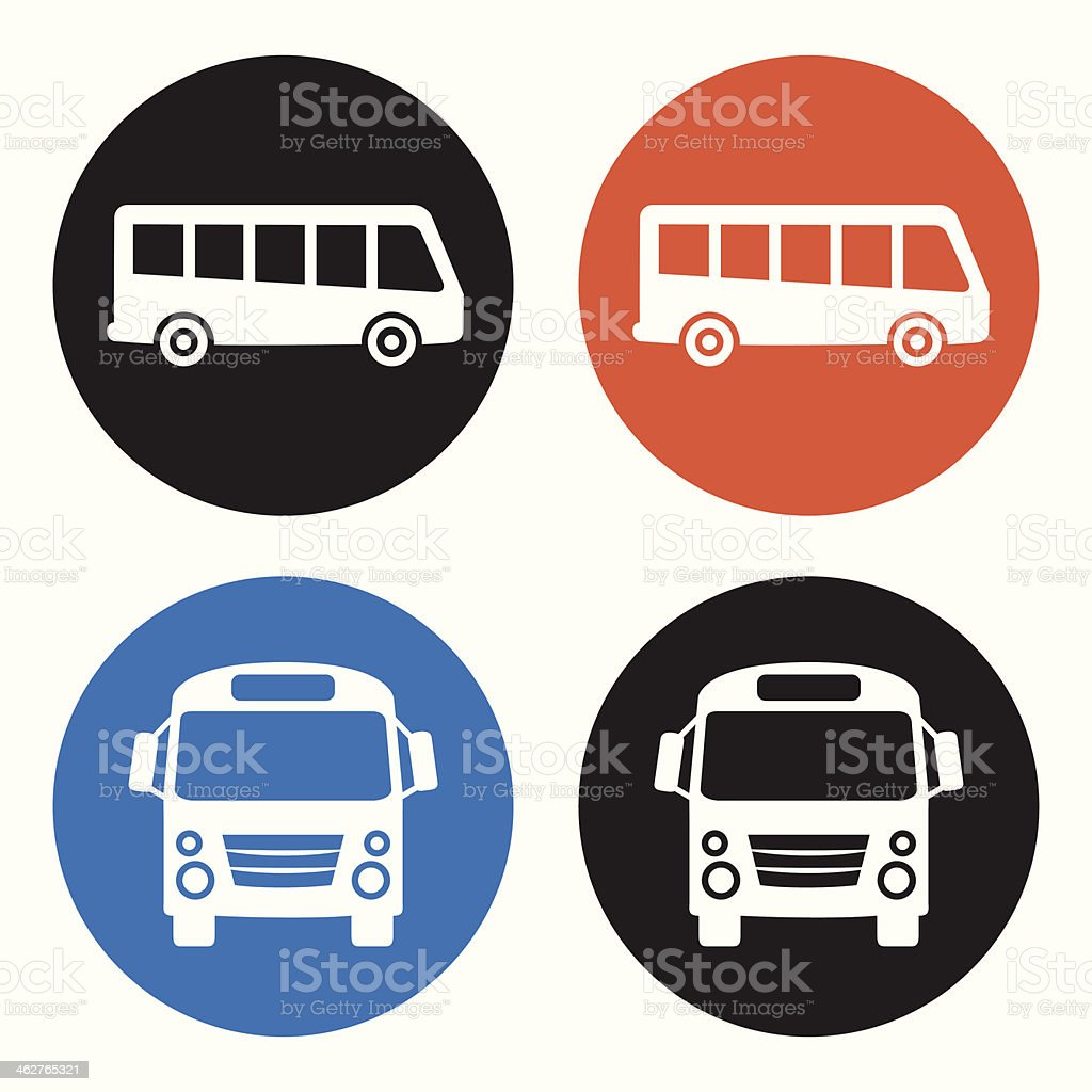 Bus icons vector art illustration