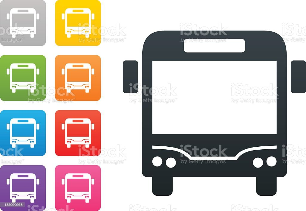 bus on coloured button - design elements vector art illustration