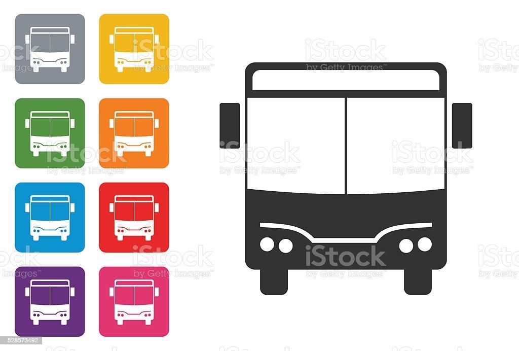 Bus on coloured button vector art illustration