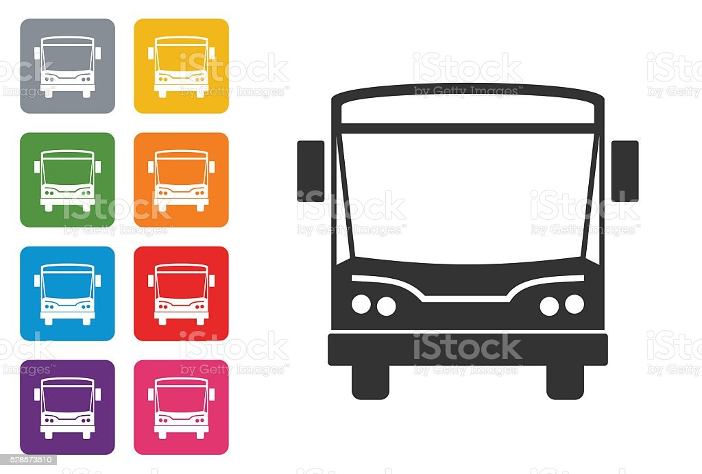 Bus on coloured button stock photo