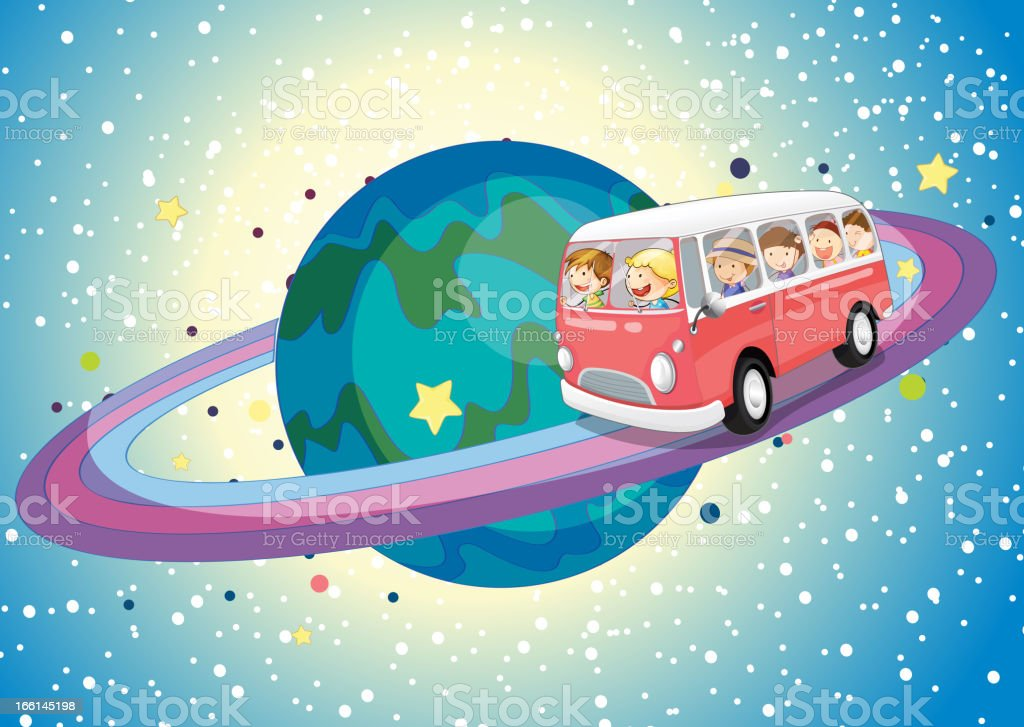 Bus on planet royalty-free stock vector art