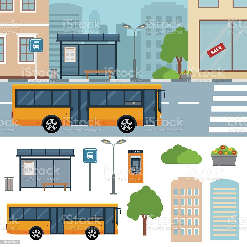Bus on the street in the town. vector art illustration
