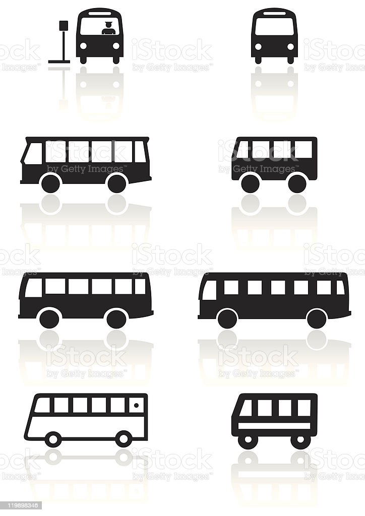 Bus or van symbol vector illustration set. vector art illustration