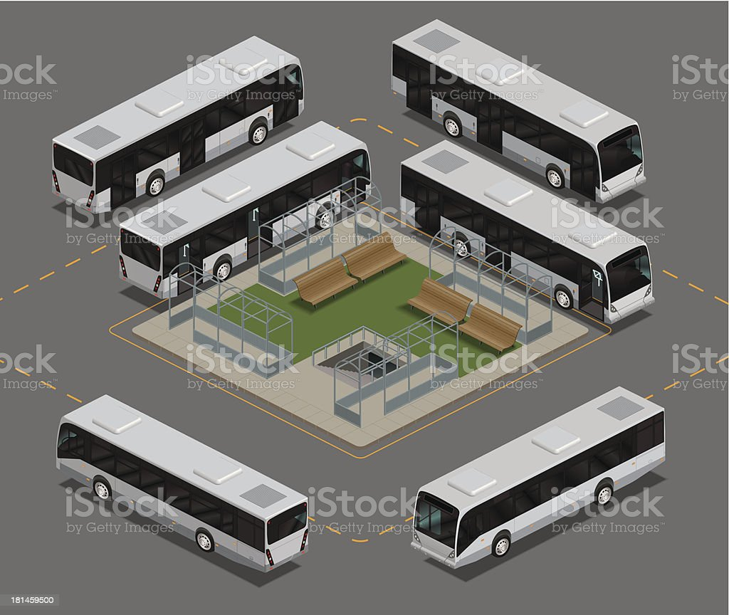 Bus station Isometric royalty-free stock vector art