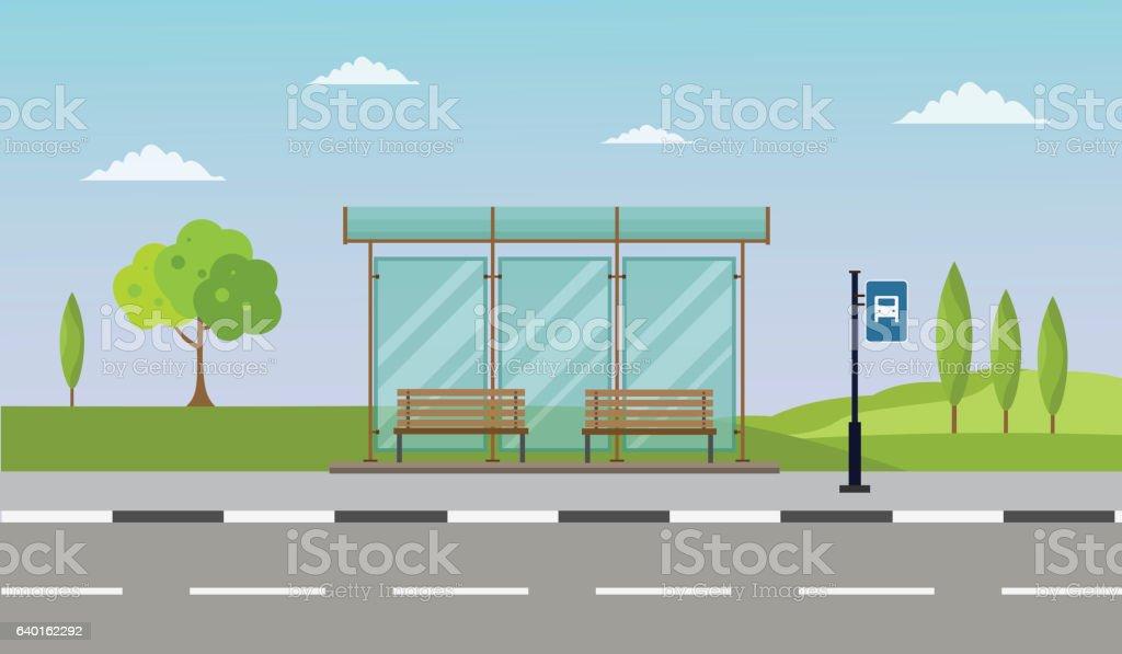 Bus stop cityscape flat vector illustration background set vector art illustration