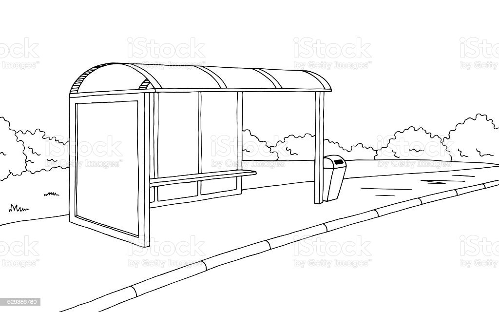 Bus stop graphic black white sketch illustration vector vector art illustration