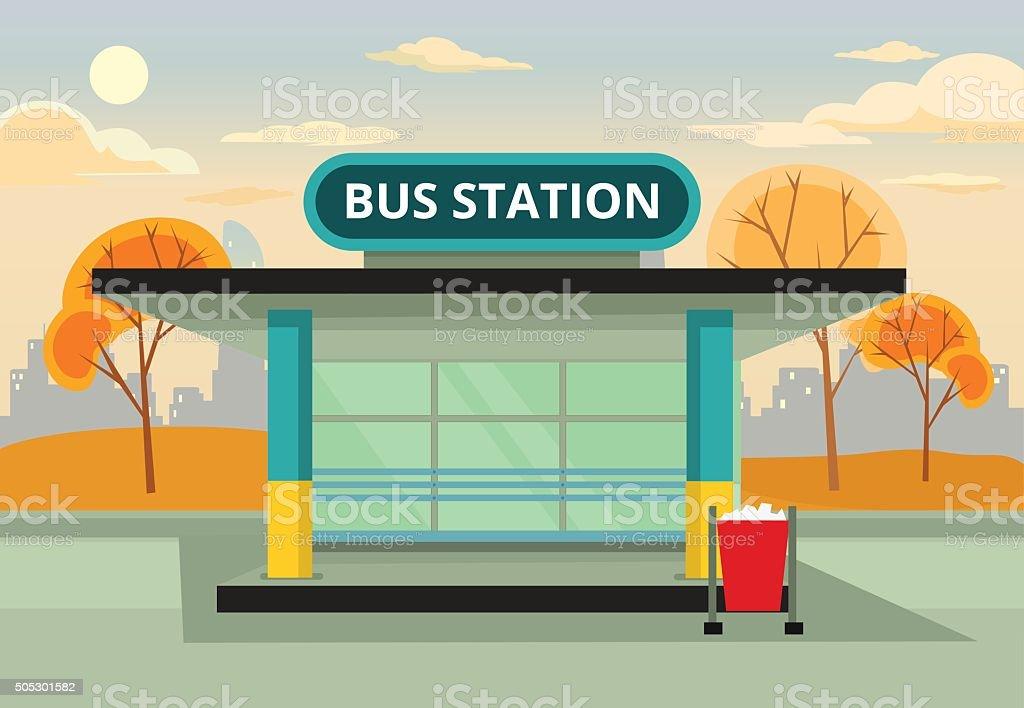 Bus stop station. Vector flat illustration vector art illustration