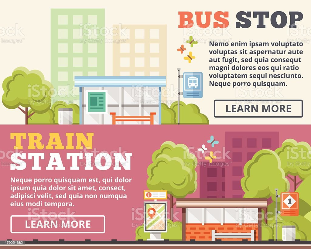 Bus stop, train station flat illustration concepts set vector art illustration