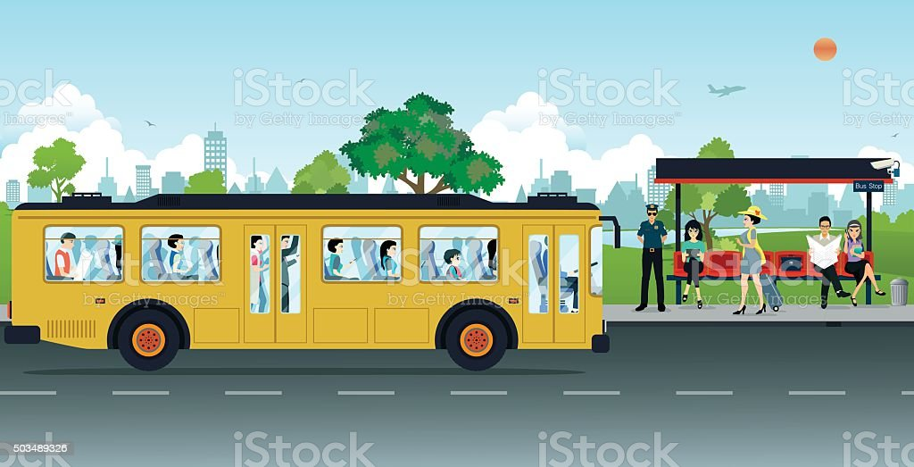 Bus Stop vector art illustration