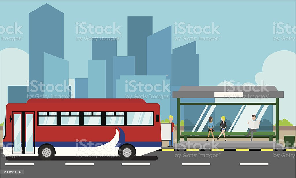 Bus Stop vector art illustration