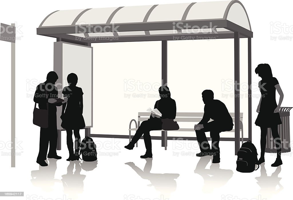 Bus Stop Waiting Vector Silhouette royalty-free stock vector art