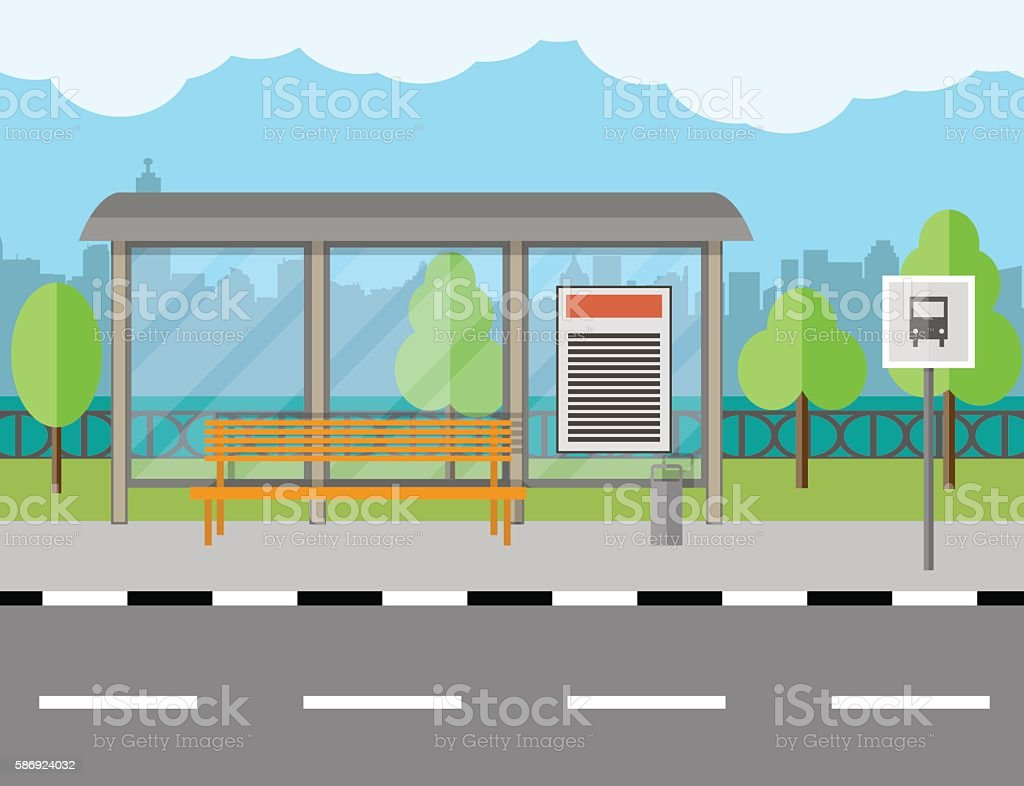Bus Stop with bench and city background vector art illustration