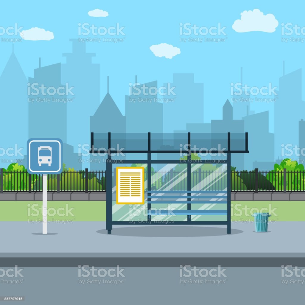 Bus stop with city background . vector art illustration