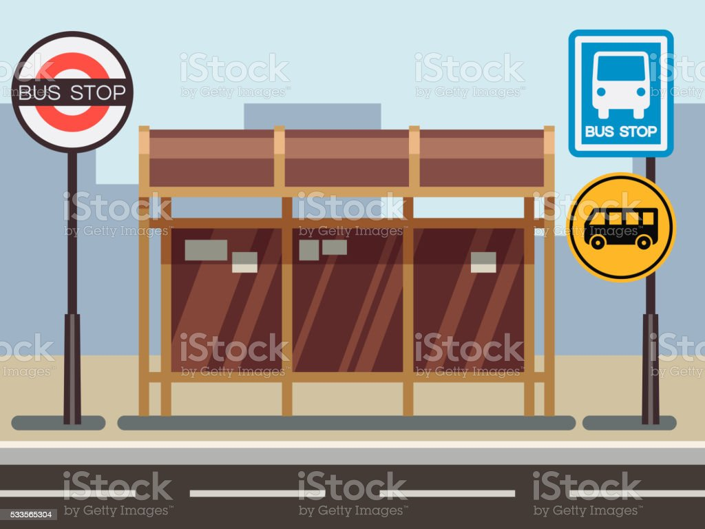Bus stop with urban cityscape vector art illustration