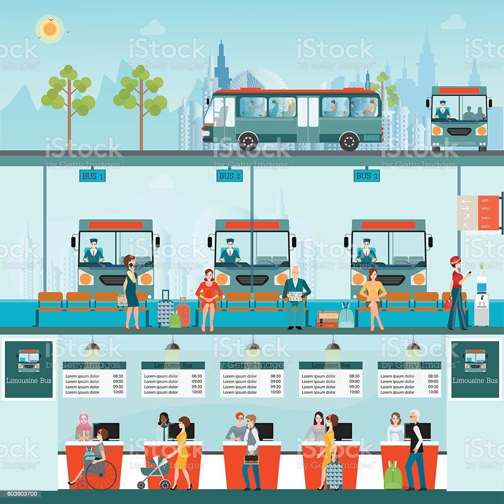 Bus terminal with bus limousine vector art illustration