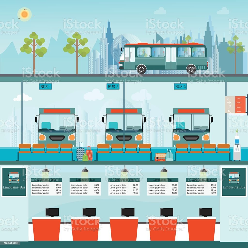 Bus terminal with bus limousine with counter service and waiting for bus. vector art illustration