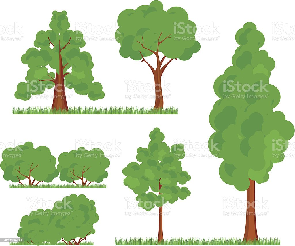 bush trees grass vector art illustration