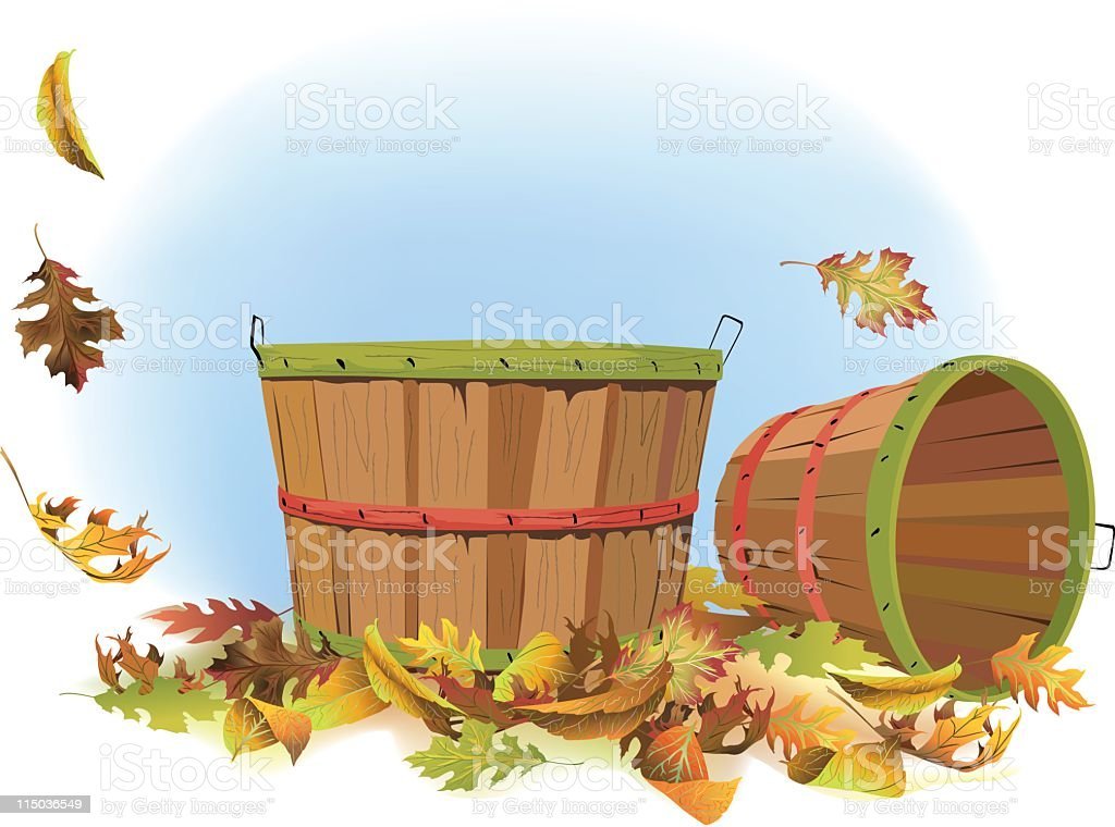 Bushel baskets and fall leaves vector art illustration
