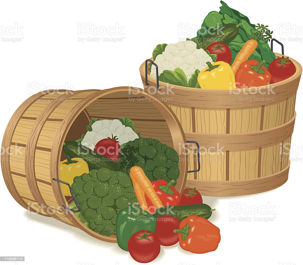 Bushel Baskets Full of Various Vegetables vector art illustration