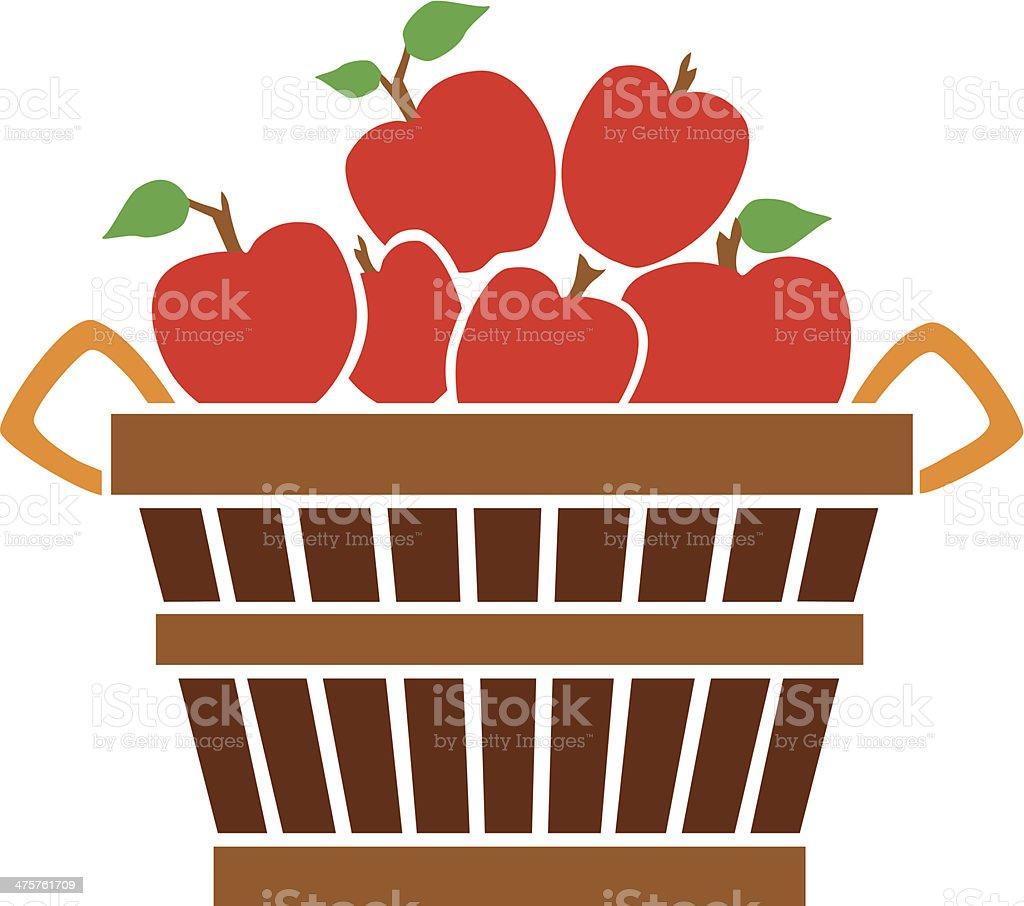 bushel of apples vector art illustration