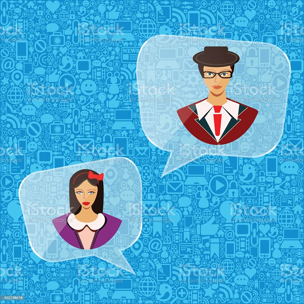 Busines people speech bubbles vector art illustration