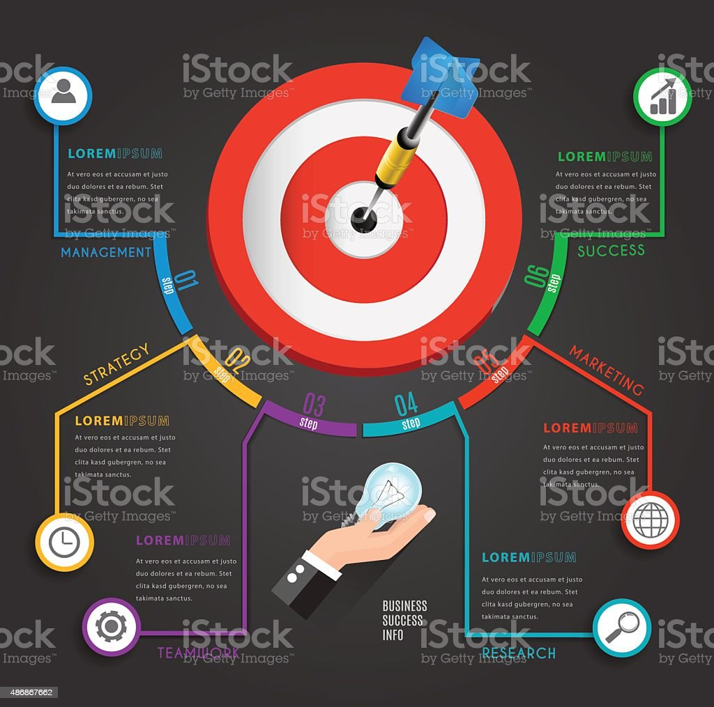 Busines target marketing concept infographic chart. vector art illustration