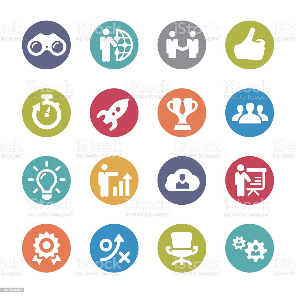 business Affairs Icons Set - Circle Series vector art illustration