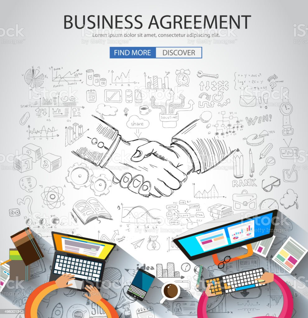 Business Agreement concept wih Doodle design style vector art illustration