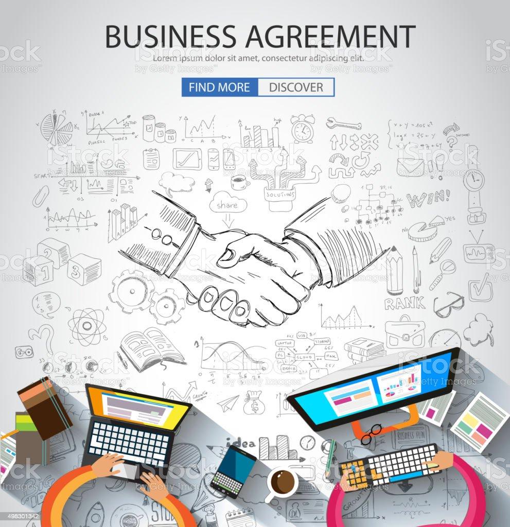Business Agreement concept wih Doodle design style vector art illustration