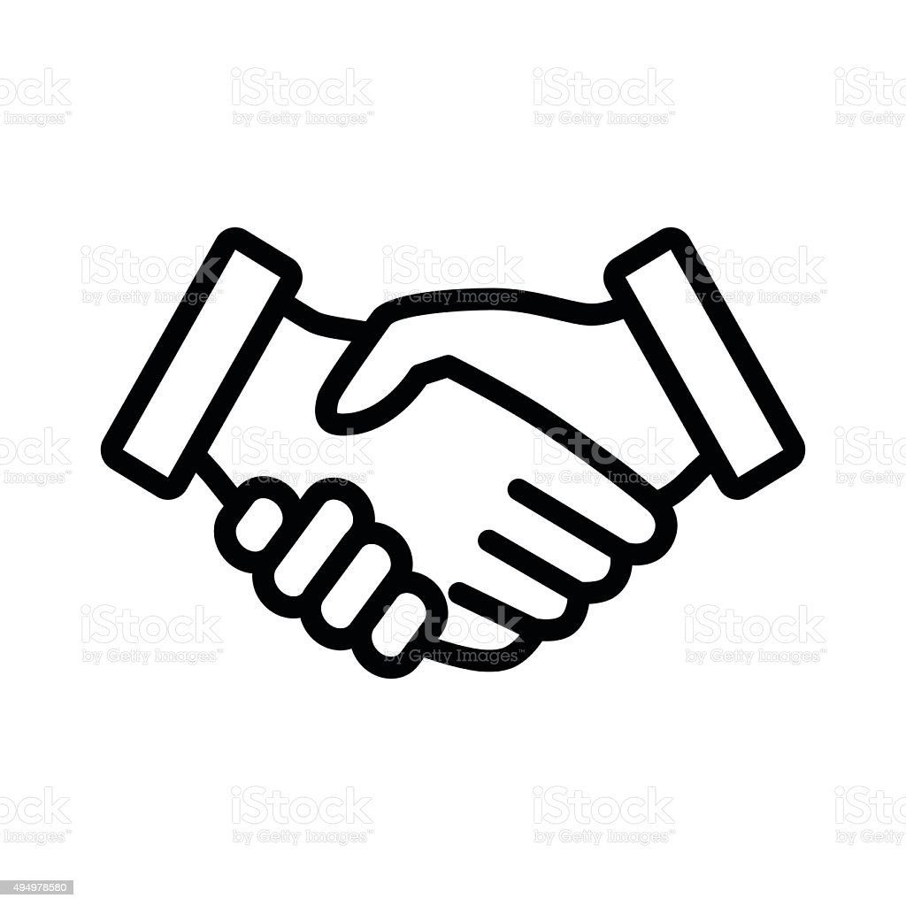 Business agreement handshake line art icon for apps and websites vector art illustration