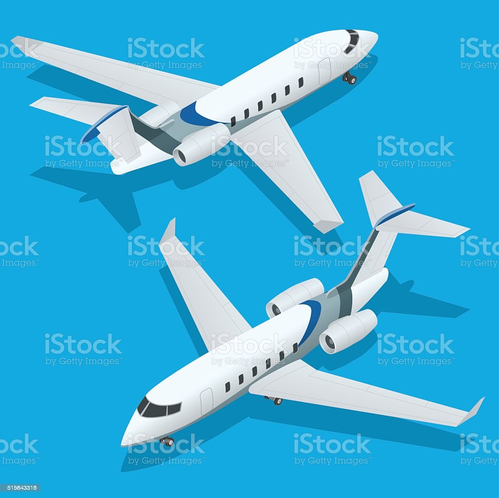 Business aircraft. Corporate jet. Airplane. Flat 3d Isometric vector illustration vector art illustration