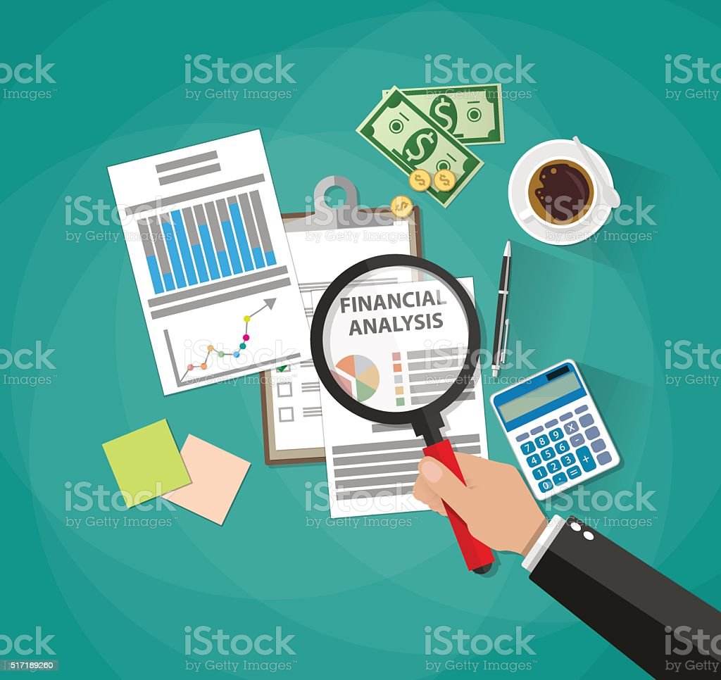 business analysis and planning, financial report vector art illustration