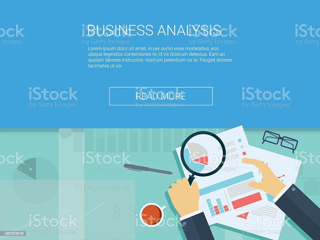 Business analysis background with magnifying glass, graphs and charts. Analytics vector art illustration