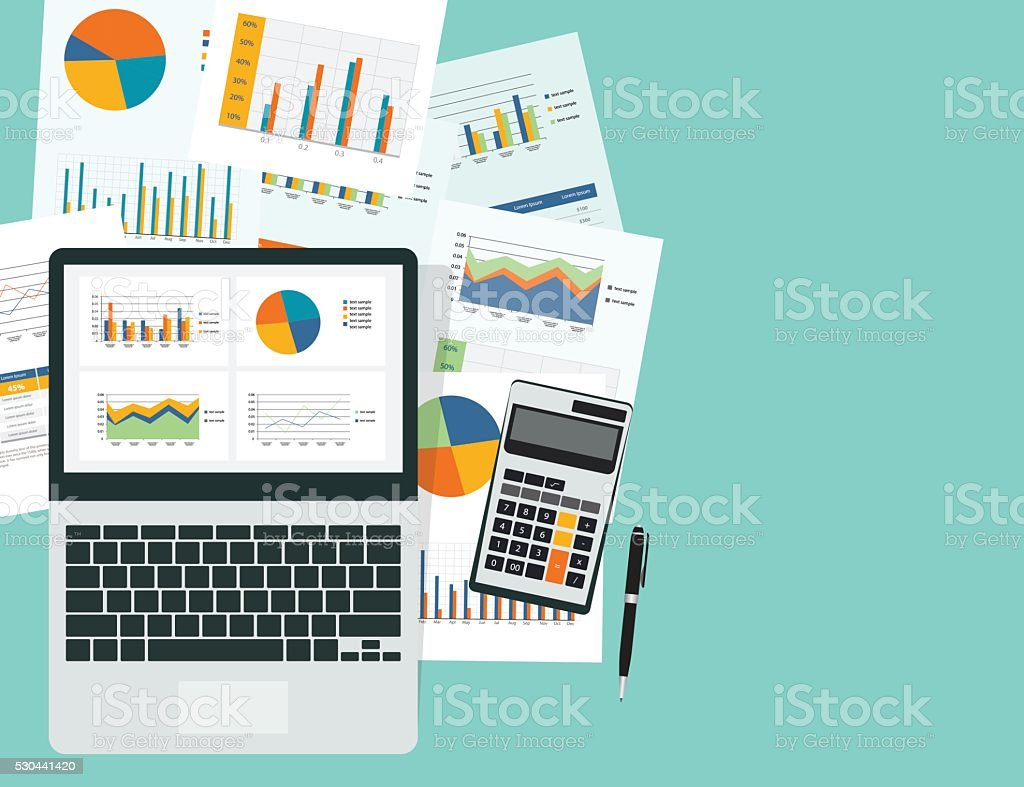 business analytic graph in device with report paper concept .business planning vector art illustration