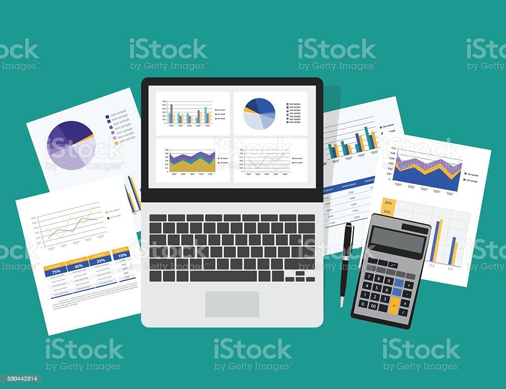 business analytic graph in tablet with report paper concept .business planning vector art illustration