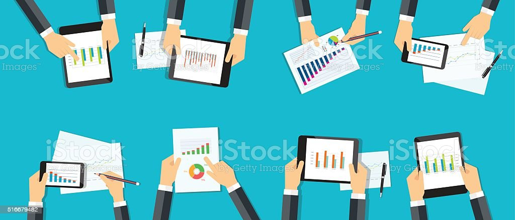 business analytic graph report . business investment planning vector art illustration