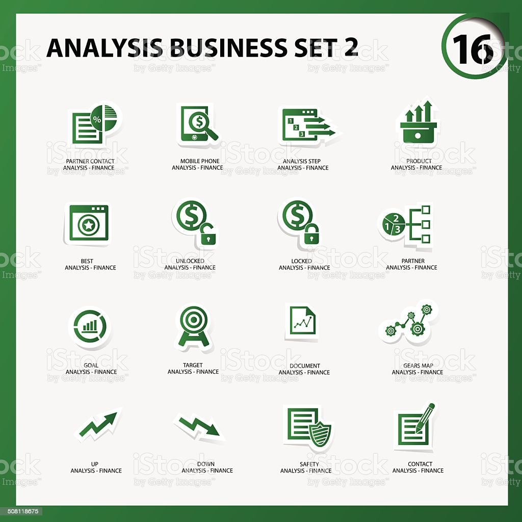 Business and analysis icon set 2,Green version,vector vector art illustration