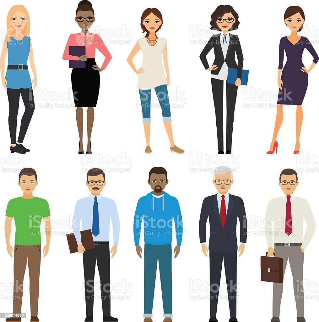 Business and casual dressed people vector art illustration
