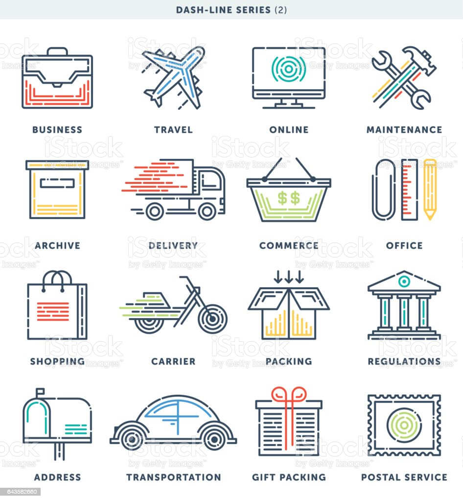 Business And Commerce Dash Line Icons vector art illustration