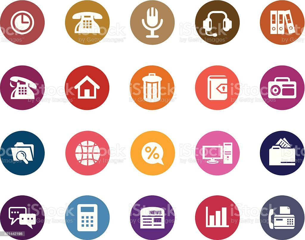Business and Communication Color Icons vector art illustration