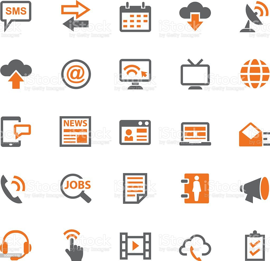 Business and communication icon set vector art illustration