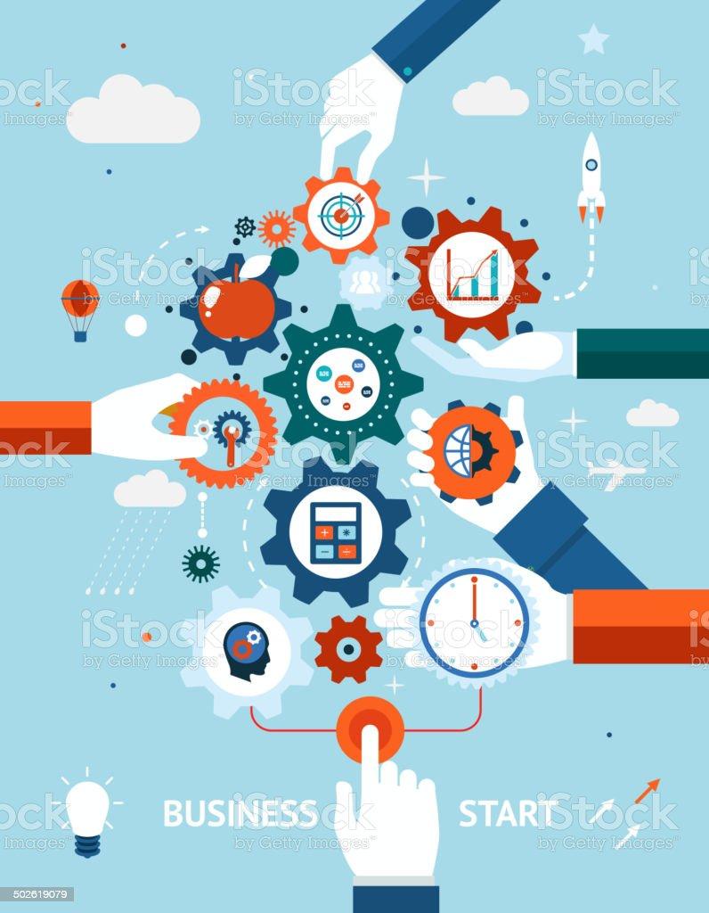 Business and entrepreneurship business start vector art illustration