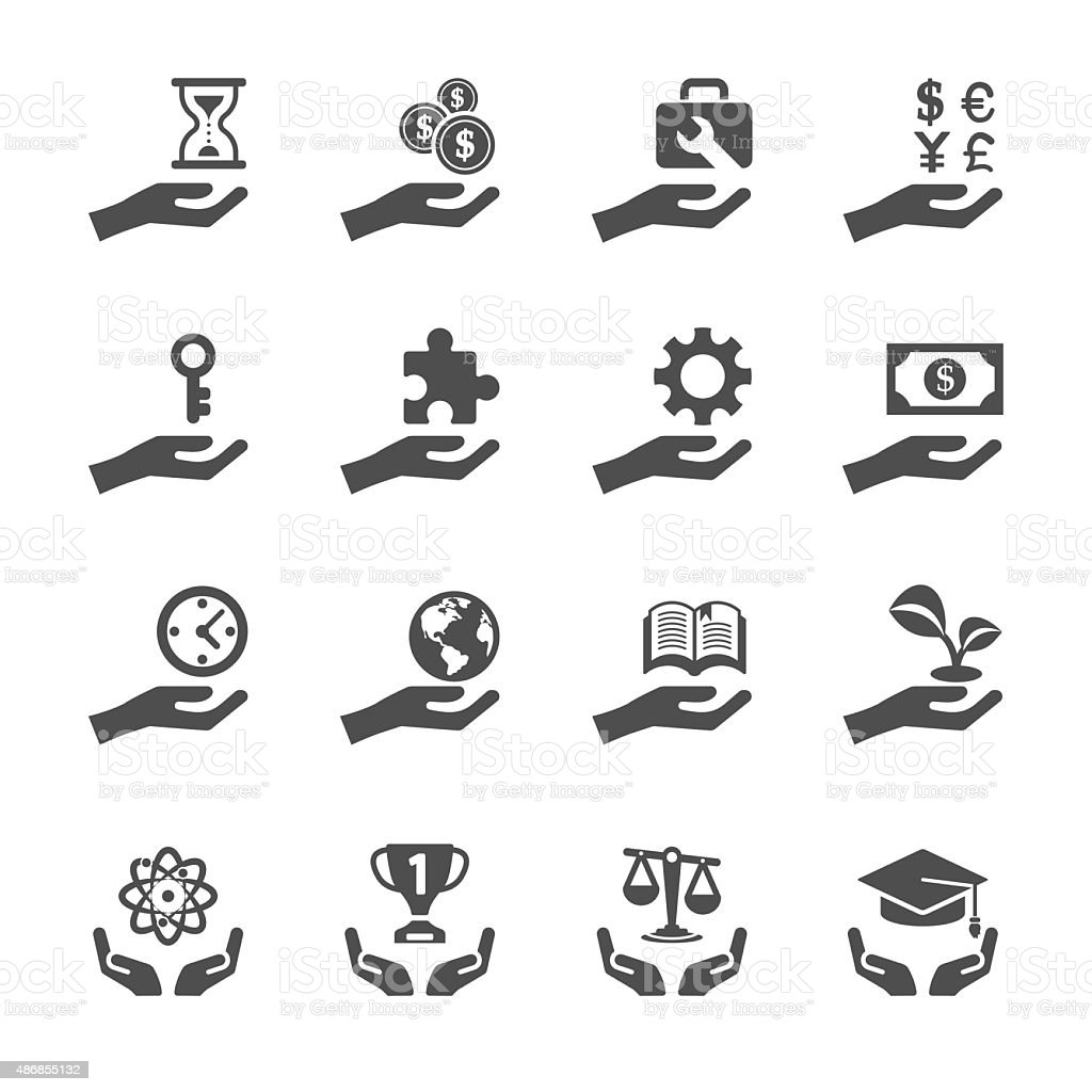 business and finance hand icon set 2, vector eps10 vector art illustration