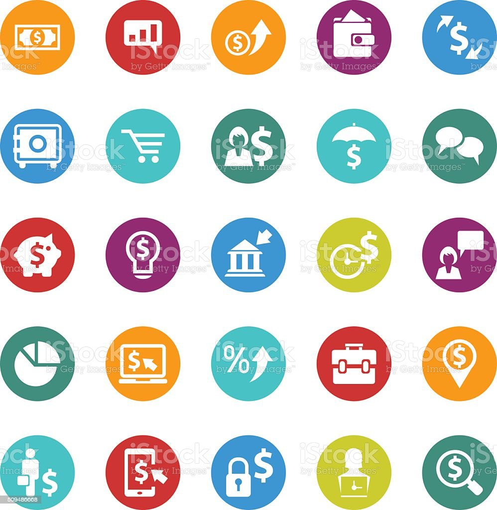 Business and finance icon set vector art illustration