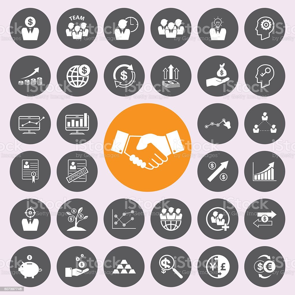 business and finance icons icon set. vector art illustration