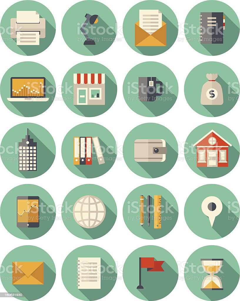 Business and finance modern icons set vector art illustration