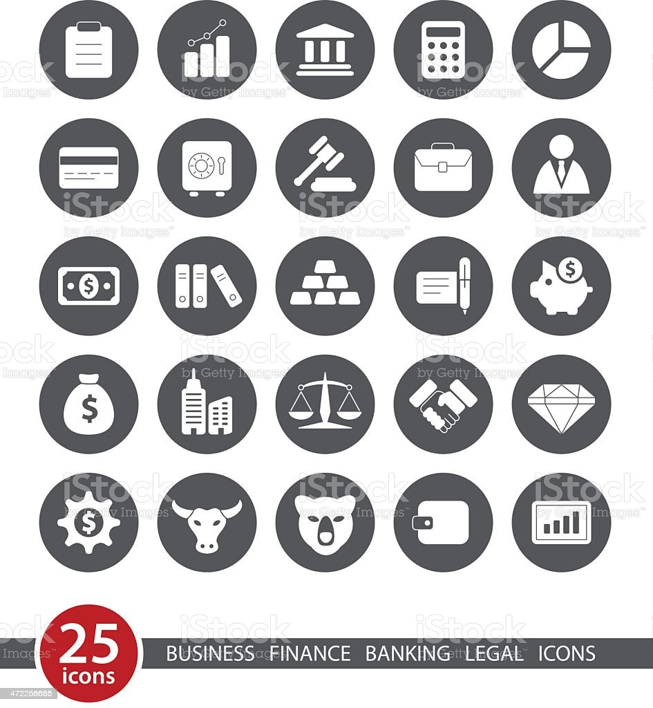 Business and Finance - Round Icon Set vector art illustration