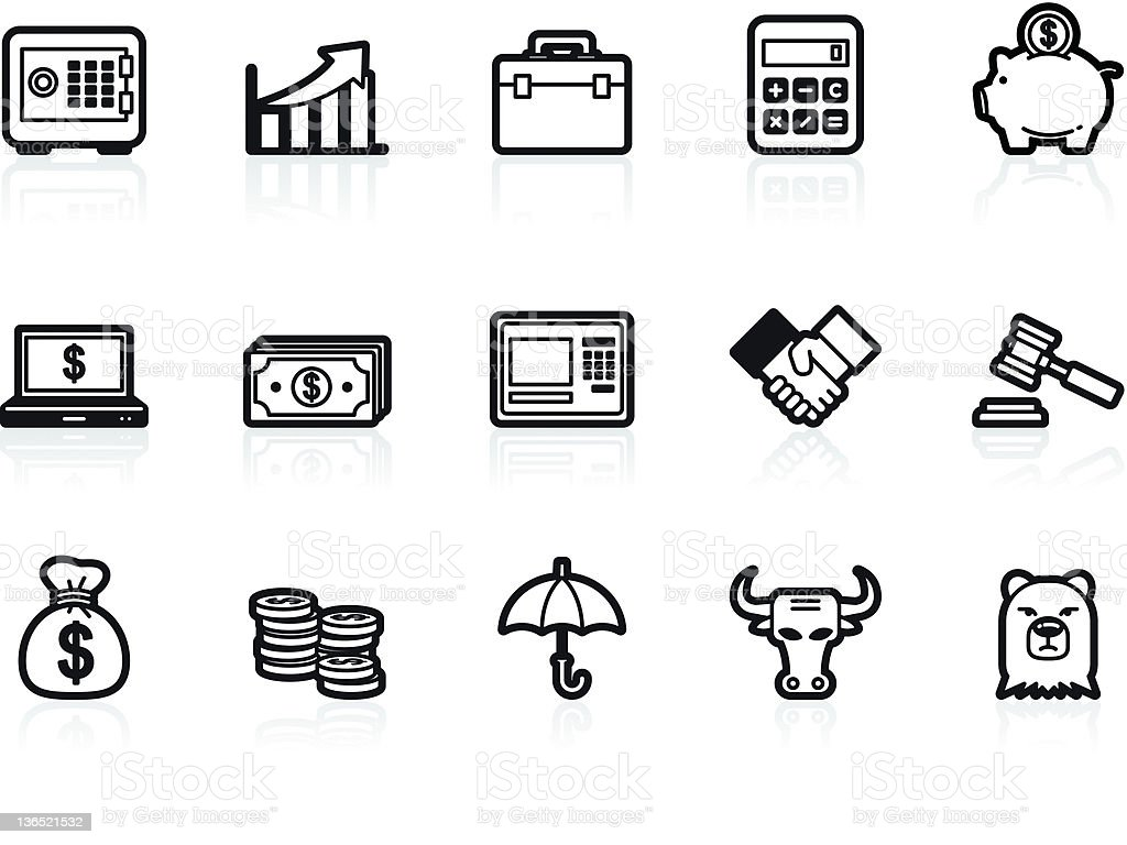 business and financial icon set royalty-free stock vector art