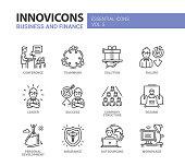 Business and fnance line design icons set