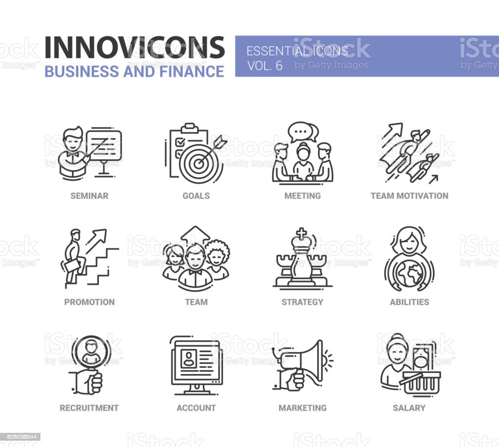 Business and fnance line design icons set vector art illustration